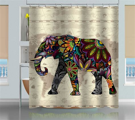 elephant shower curtain floral elephant world map shower curtain creativgoods