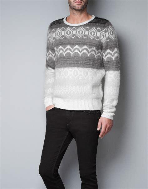 Sweater Zara Zara Knitted Jacquard Pattern Sweater In White For