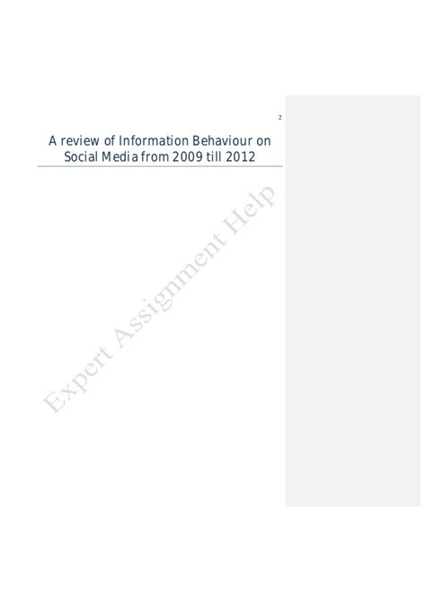 Literature Review Image Media by Literature Review Of Information Behaviour On Social Media