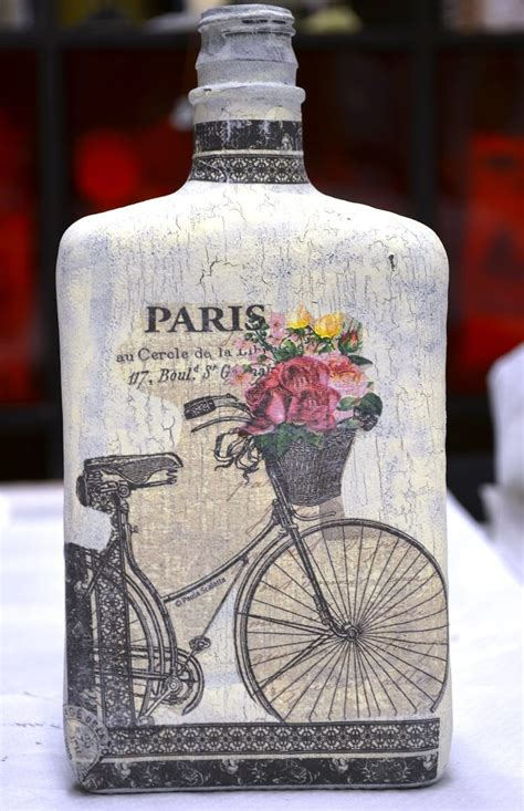 Decoupage On Glass Bottles - how to decoupage with crackle finish on glass bottle