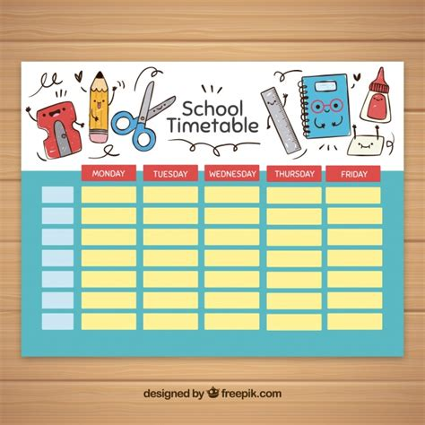 school timetable template with school elements vector