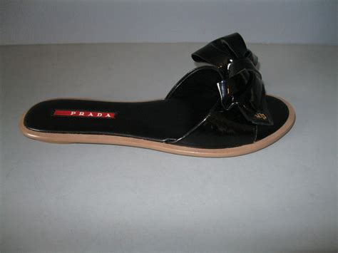 Bow Flat Sandal Original Ori Authentic authentic prada new 36 black patent bow slides sandals