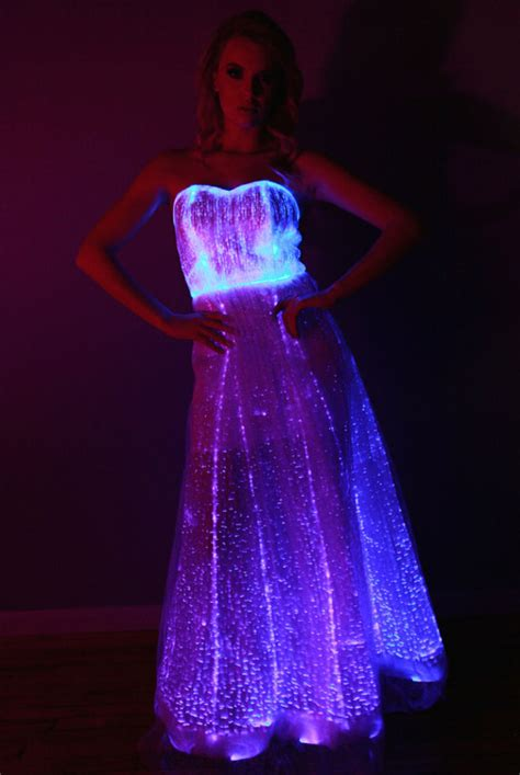 fiber optic gown dress color changing lights with remote