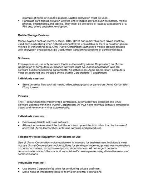 acceptable use policy template sle acceptable usage policy free