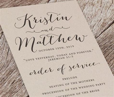 what goes on a wedding program papers and ink top wedding program templates everafterguide