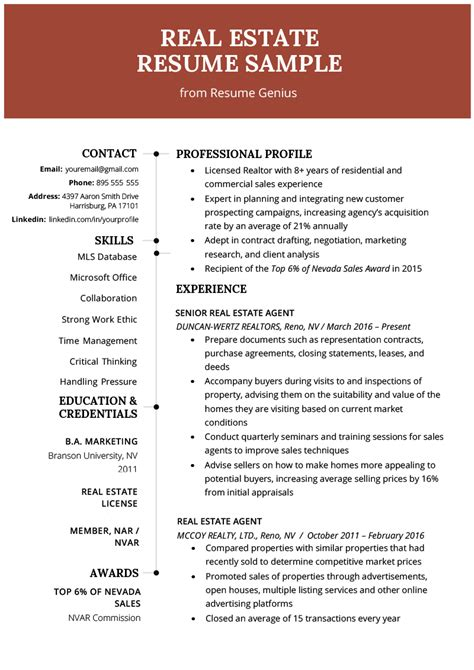 resume template for real estate agents real estate resume writing guide resume genius