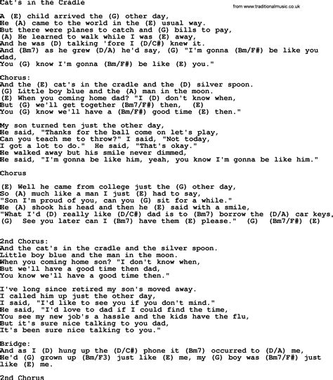 cat song lyrics johnny song cat s in the cradle lyrics and chords