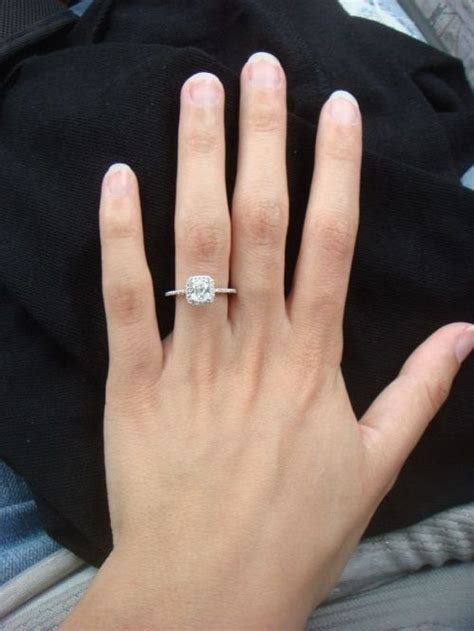 cushion cut engagement rings on finger 21 my