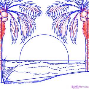 Sunset Drawing Outline by How To Draw A Sunset Step By Step Other Landmarks Places Free Drawing Tutorial