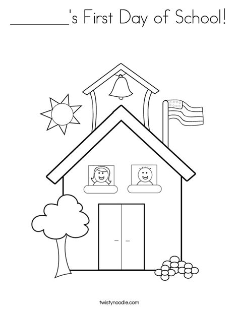 Preschool Coloring Pages First Day Of School | s first day of school coloring page twisty noodle