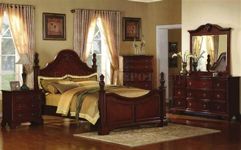 royal cherry finish traditional 5pc bedroom set w bed