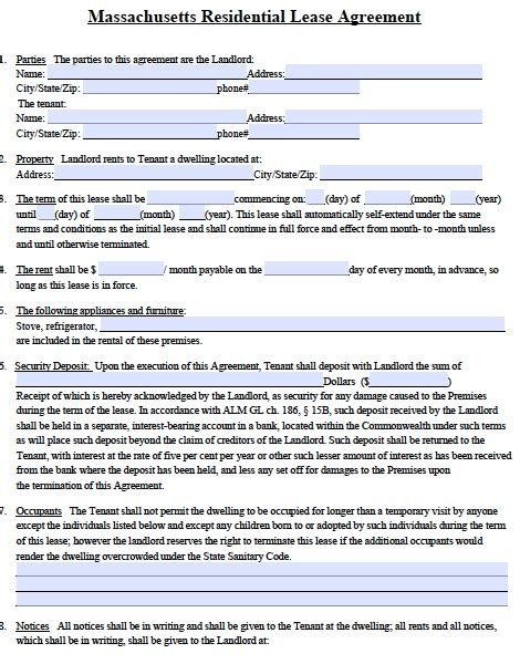 Lease Termination Letter Massachusetts Free Massachusetts Standard Residential Lease Agreement Form Pdf Template