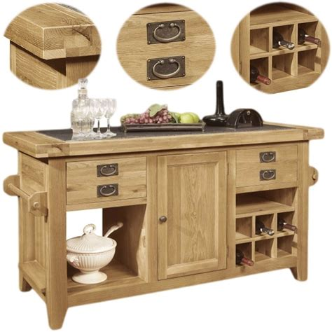 kitchen island unit lyon solid oak furniture large granite top kitchen island
