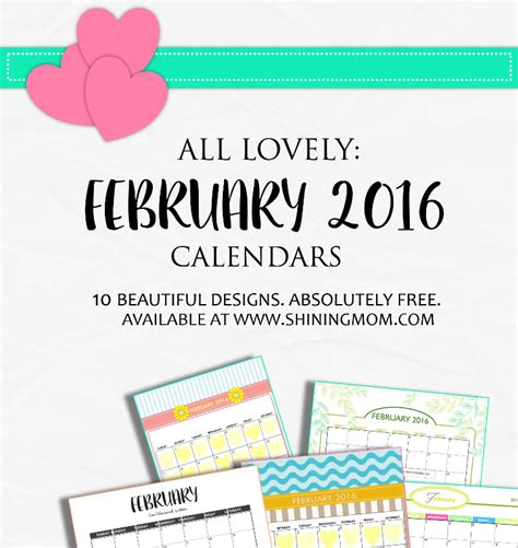 free printable your lovely 2016 calendars definitely lovely free printable february 2016 calendars