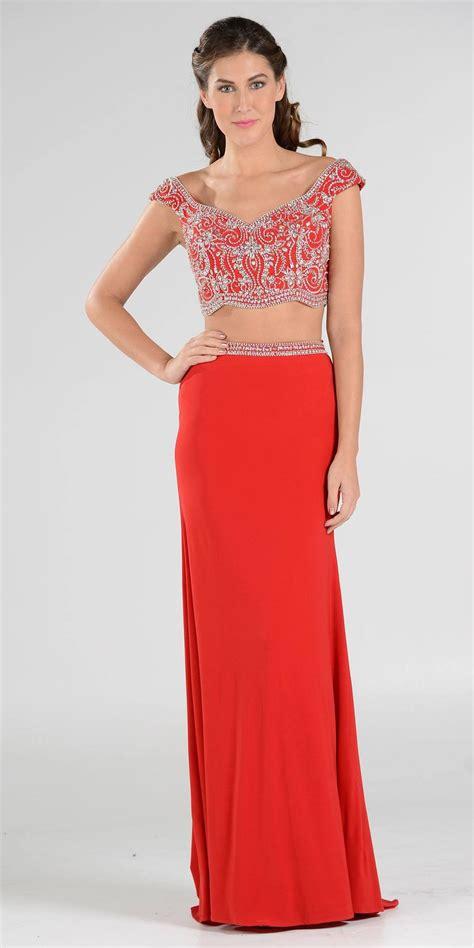 Dress Longcrop 95rb magenta beaded crop top two prom dress cap sleeves discountdressshop