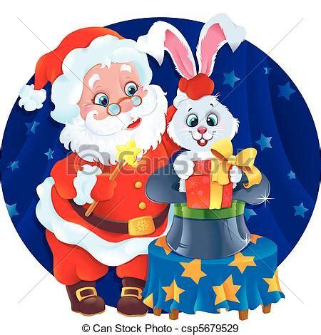 clipart new year rabbit eps vectors of magician santa and rabbit greeting card