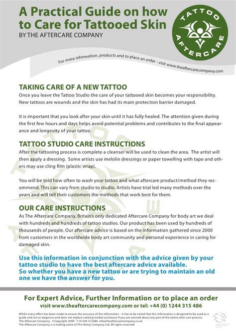 tattoo after care aftercare care guide