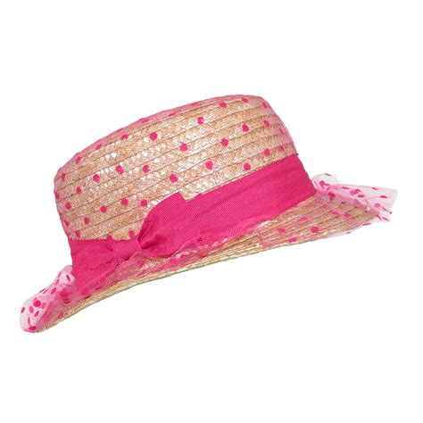 womens straw boater hat with polka dot tulle by ctm