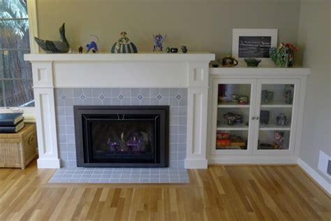 mantel and bookcase