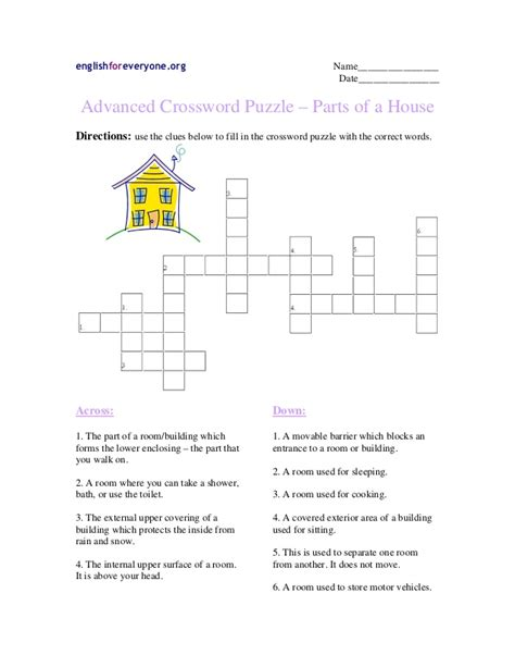 advanced crossword puzzle parts of a house