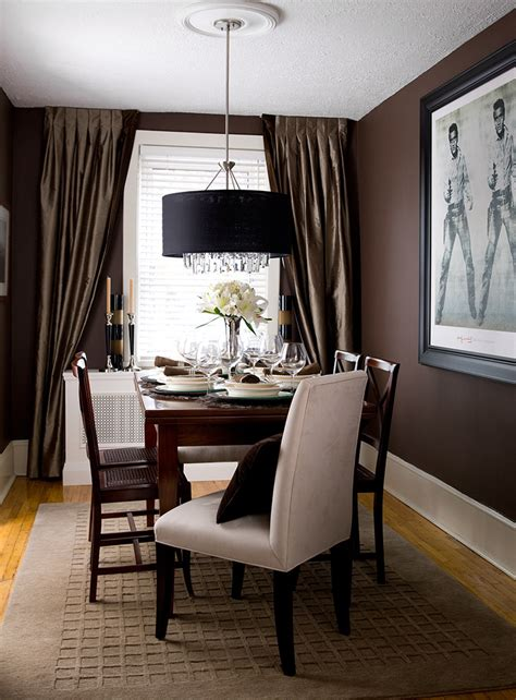 brown dining rooms dining room walls wrapped in a rich dark brown designed by