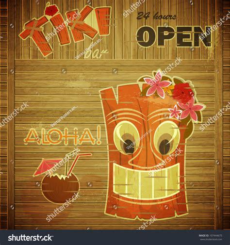 Vintage Design Hawaii Menu Invitation Tiki Stock Vector 107444675 Shutterstock Tiki Bar Menu Template