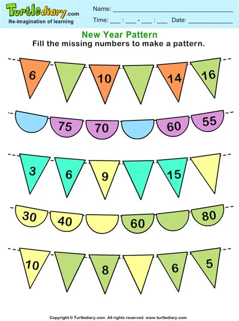 pattern number games recognize number patterns and complete them worksheet