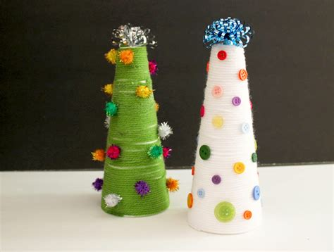kids craft yarn wrapped christmas trees