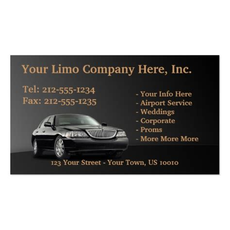 limo business card template taxi limo chauffeur business card templates bizcardstudio