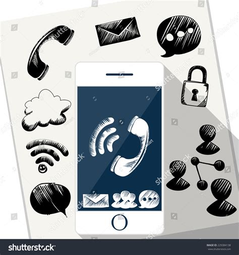 doodle sms viewer smart phone mobile doodle sketch stock vector