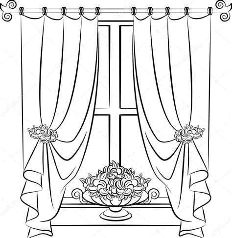 curtain drawing coloring pages curtain line drawing