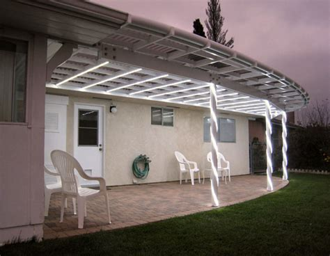 a white light emitting diode led illuminated patio cover