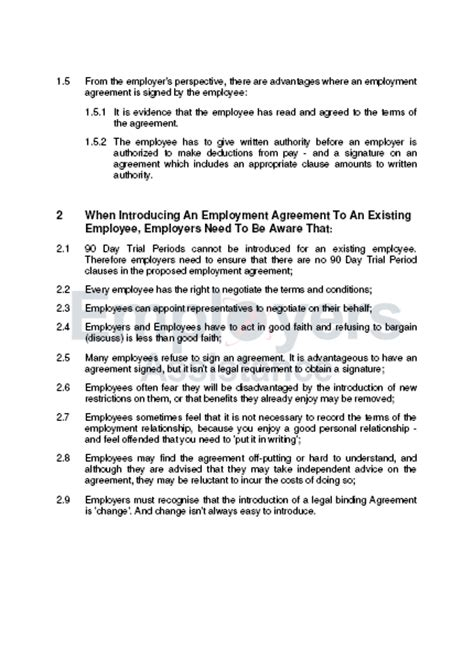Employment Contract Variation Letter Introducing Employment Agreements