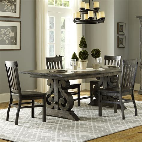 Magnussen Home Bellamy Transitional Five Piece Weathered Magnussen Dining Room Furniture
