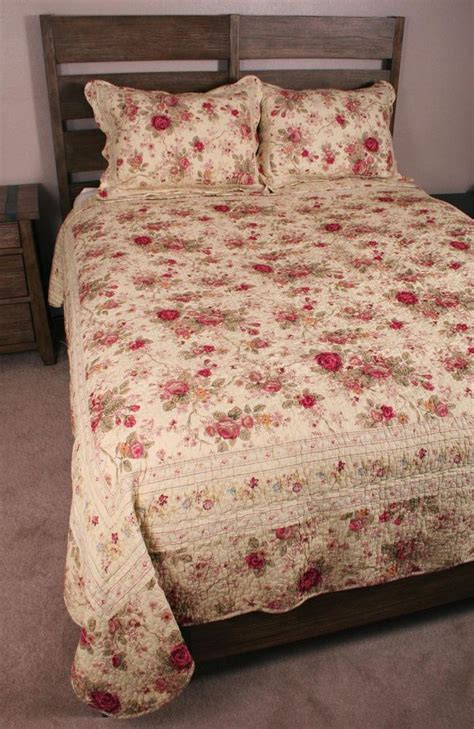 king quilt set shabby antique tea roses chic cotton ebay