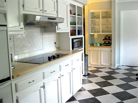 black and white tile bistro kitchen floor decoist