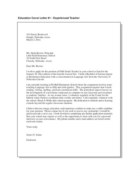 cover letter template education cover letter exle 9 free word pdf documents