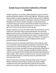 Environmental Issues Essay Exles by Sle Essay On Economic Implications Of Gender Inequality