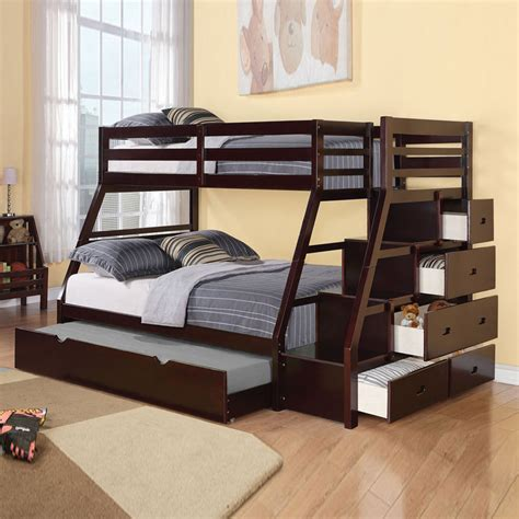 Trundle Bunk Bed With Storage Jason Bunk Bed Storage Ladder Trundle Espresso Stairway Espresso Ebay