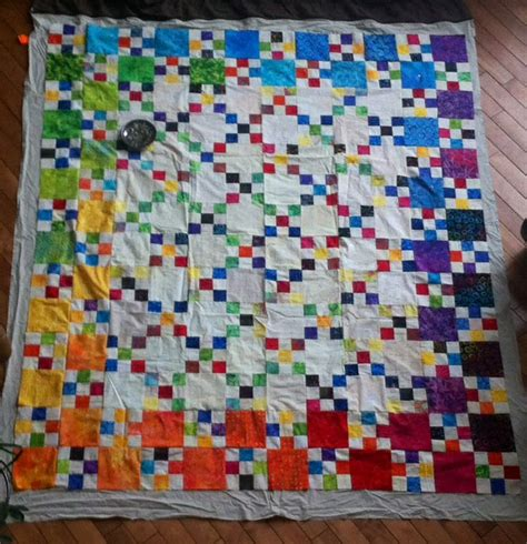 Jelly Roll And Layer Cake Quilt Patterns by Rainbow Batiks Layer Cake And Jelly Roll Chain Quilt