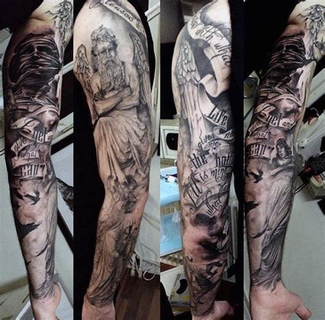 angel sleeve tattoos for men guardian tattoos for www imgkid