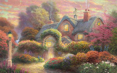 painting for computers free fairytale cottage painting computer desktop wallpaper