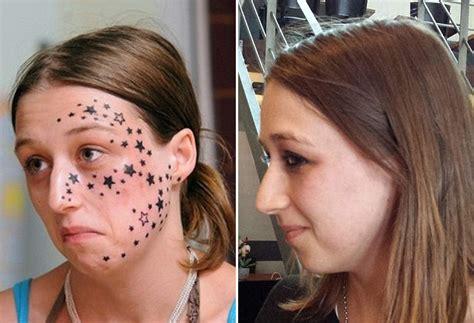 tato bintang di bahu wanita ini ambil masa 4 thn untuk buang tato di wajahnya