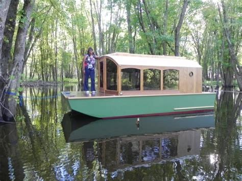 mini house boat man designs micro houseboat you can build for cheap