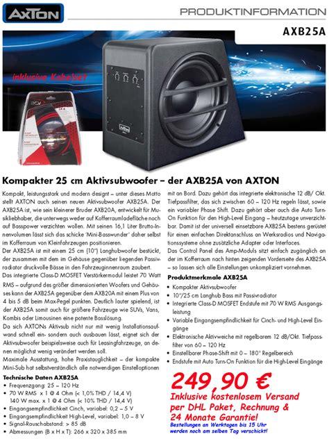 Aktiv Subwoofer Auto Ebay by Axton Axb25a Aktiv Subwoofer Mit Verst 196 Rker Kabelset