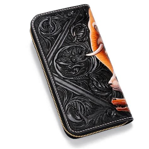 Handmade Leather Biker Wallets - tooled handmade leather biker wallet animals makkashop