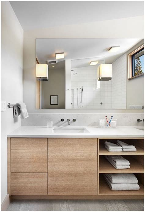 41 Bathroom Vanity Open Shelves, Shelves Storage Ideas