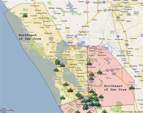 california map showing san jose of san jose map