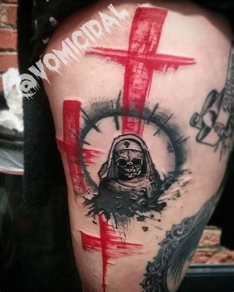 abstract cross tattoo abstract style colored thigh of skeleton