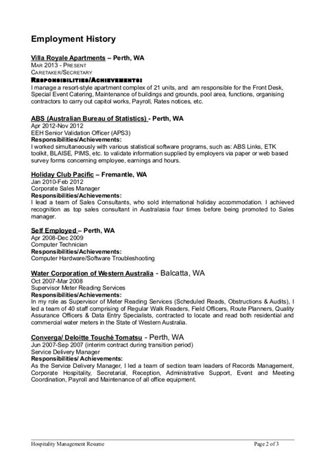 Address On Resume Apartment Hospitality Mgmt Resume 5